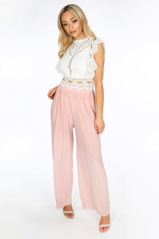 bdcfe347126 Pink Pleated Palazzo Trouser