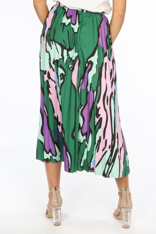 Green Abstract Print Pleated Midi Skirt