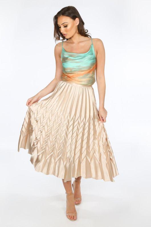 Beige Satin Chevron Pleated Maxi Skirt