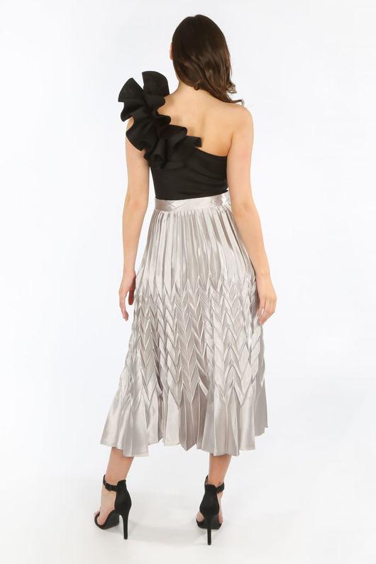 Grey Satin Chevron Pleated Maxi Skirt
