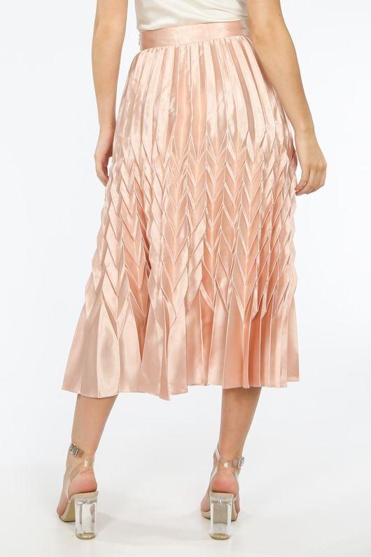 Pink Satin Chevron Pleated Maxi Skirt