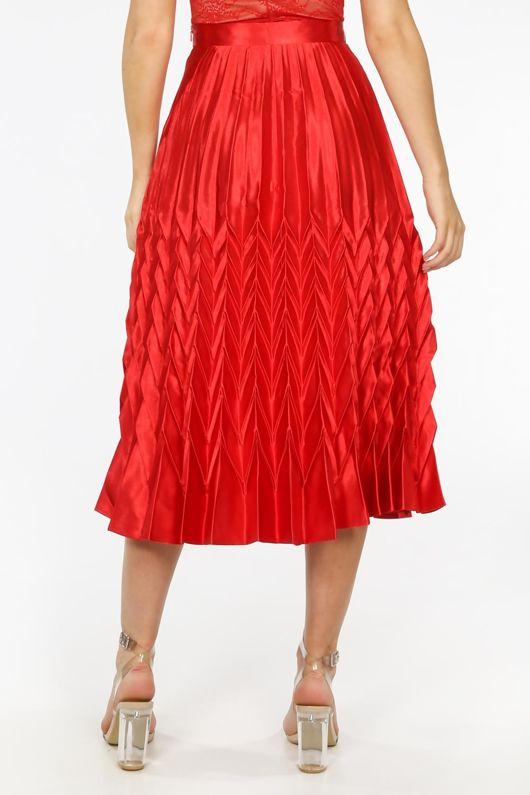 Red Satin Chevron Pleated Maxi Skirt