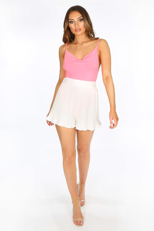 White Pleated Shorts