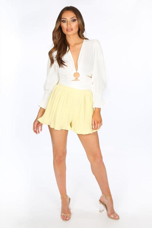 Yellow Pleated Shorts