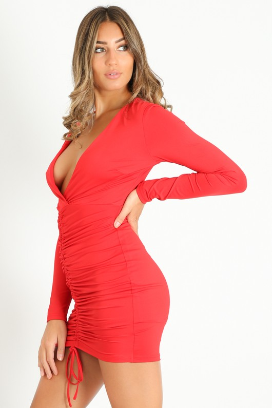 y/247/Plunge_Front_Ruched_Bodycon_Dress_In_Red__31325.jpg