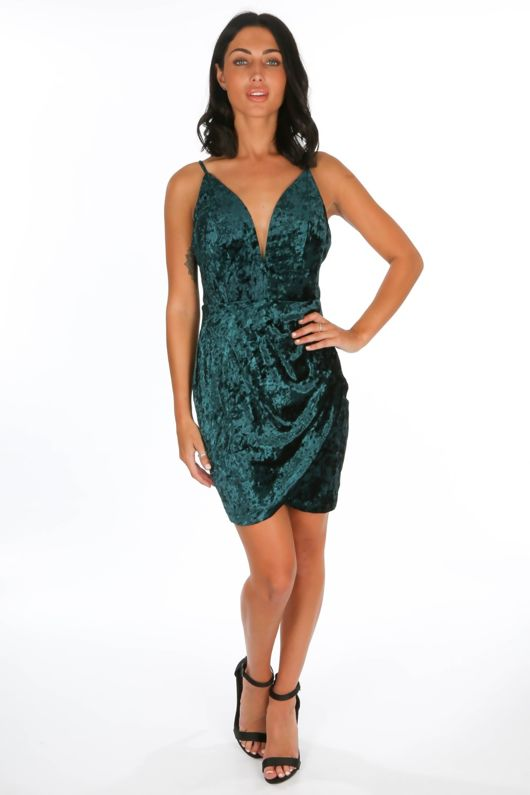 Plunge Front Velvet Mini Dress In Green