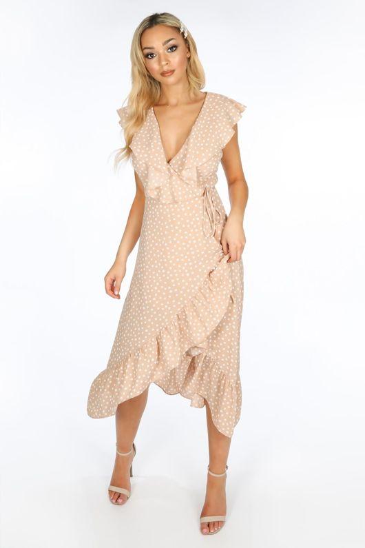 Sleeveless Midi Wrap Dress in Nude Polka Dot