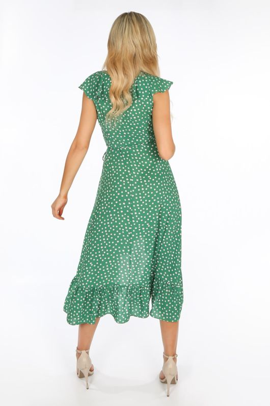 Sleeveless Midi Wrap Dress in Green Polka Dot