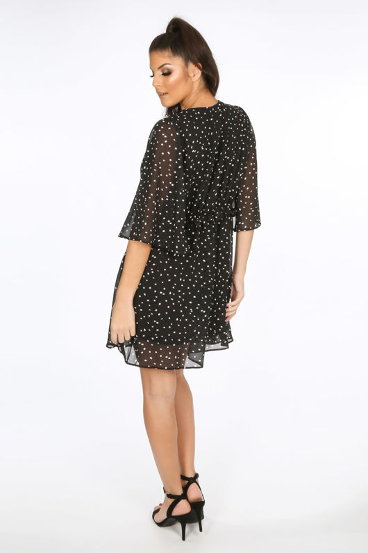 Black Polka Dot Chiffon Smock Dress