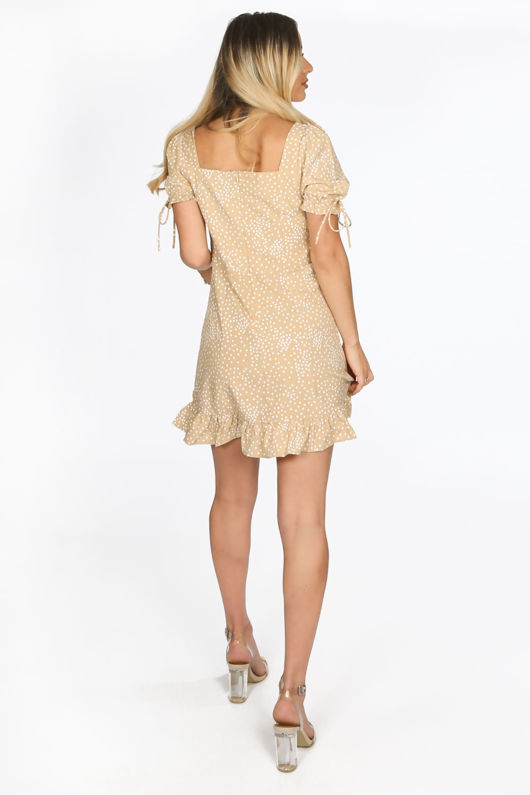 Beige Polka Dot Day Dress With Frill Hem