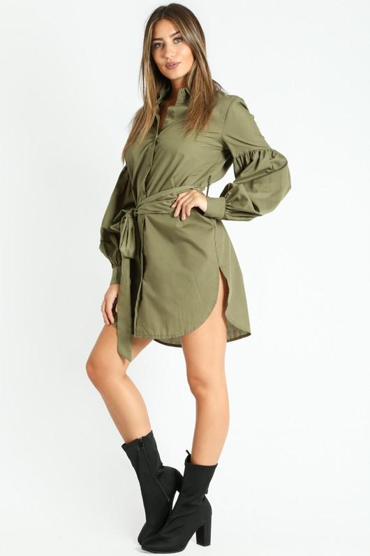 e/148/Puff_Sleeve_Belted_Shirt_Dress_In_Khaki-2__39135.jpg
