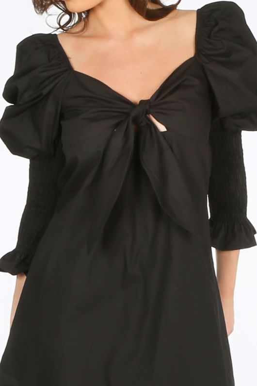 Black Tie Front Dress With Puff Sleeves