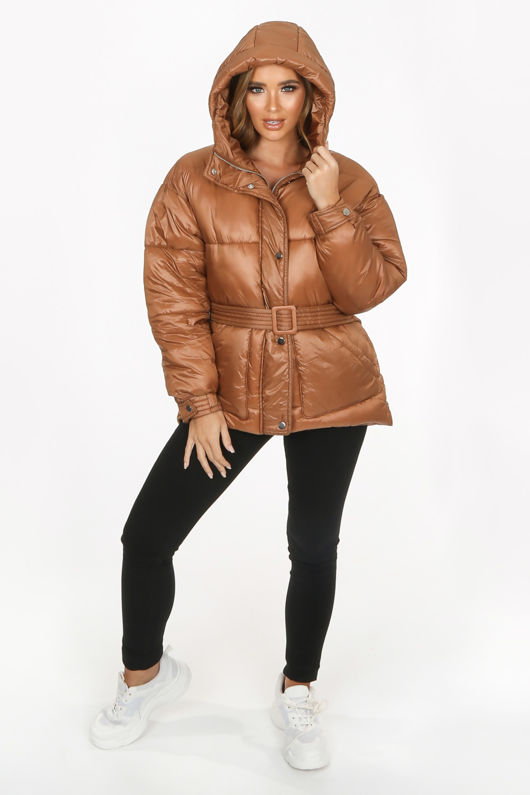 Camel Quilted Belted Puffer Jacket