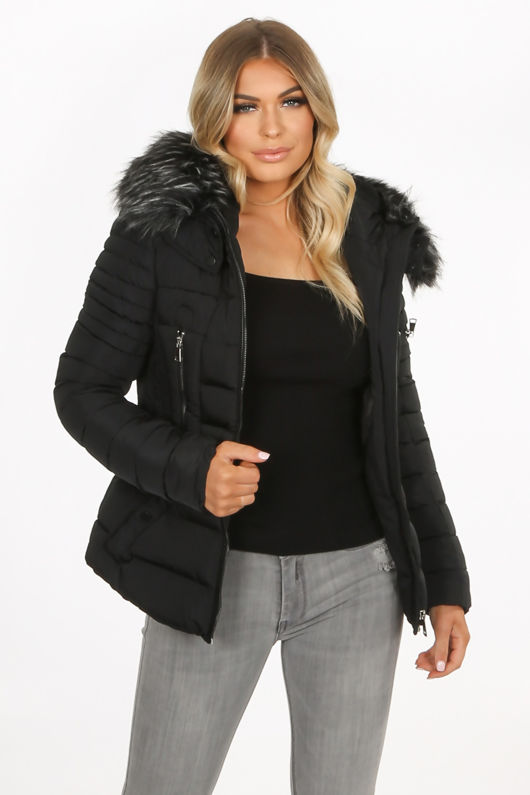Black Quilted Fitted Puffer Jacket