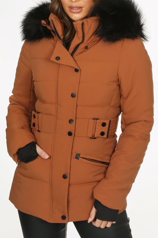 Camel Fitted Puffer Jacket