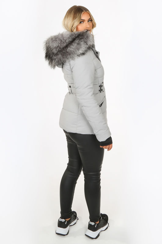 Grey Fitted Puffer Jacket