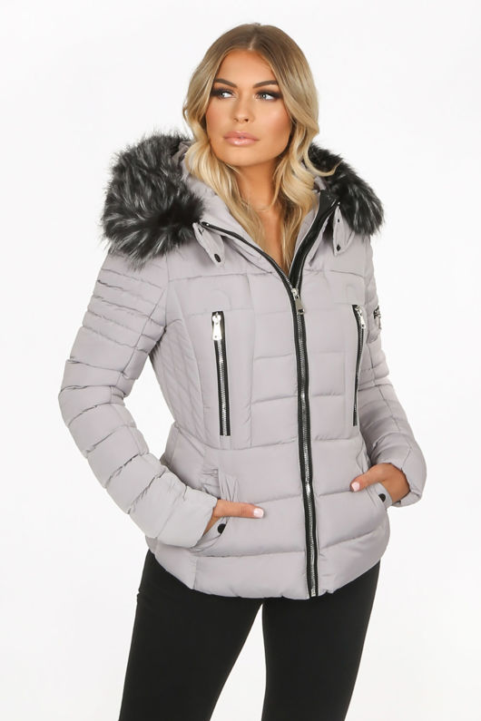 Grey Quilted Fitted Puffer Jacket