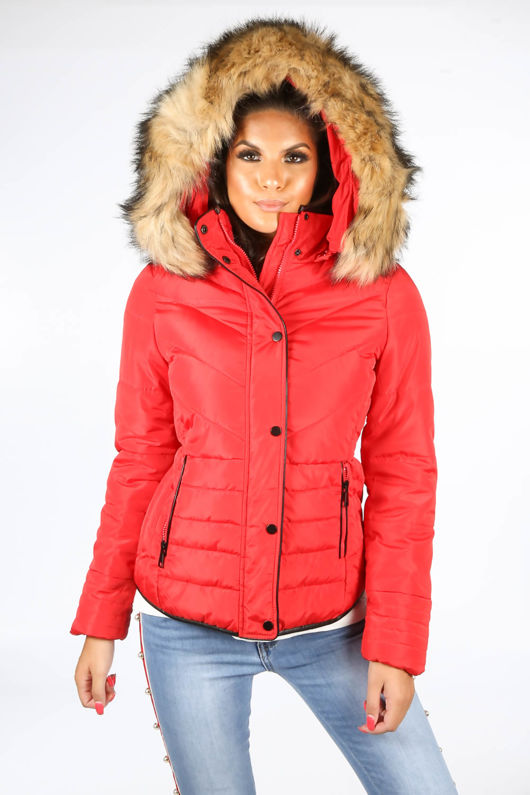 Red Quilted Puffer Jacket With Faux Fur Trim