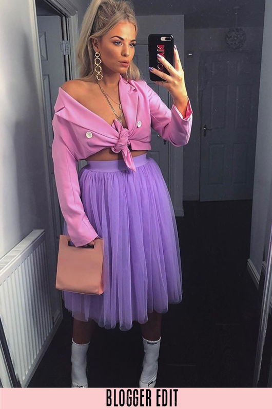 Midi Tulle Skirt In Lilac