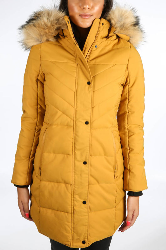Mustard Quilted Puffer Coat With Luxe Faux Fur