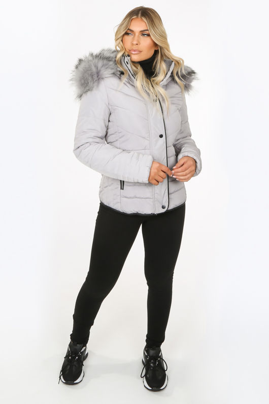 Grey Puffer Jacket With Chunky Faux Fur Trim