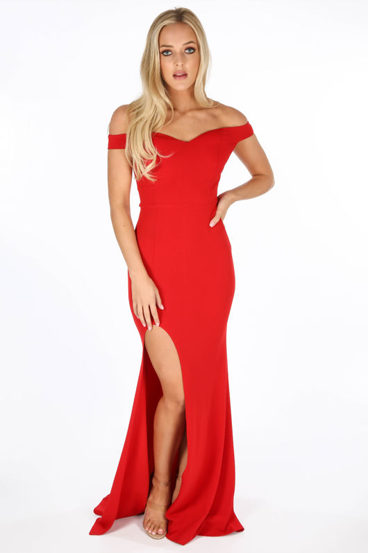Split Red Dresses