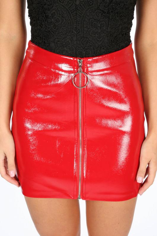 Red Vinyl Zip Front Mini Skirt