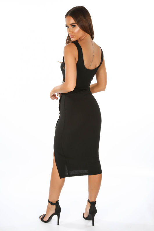 c9534a41d3e Ribbed Jersey Midi Dress With Button Detail In Black