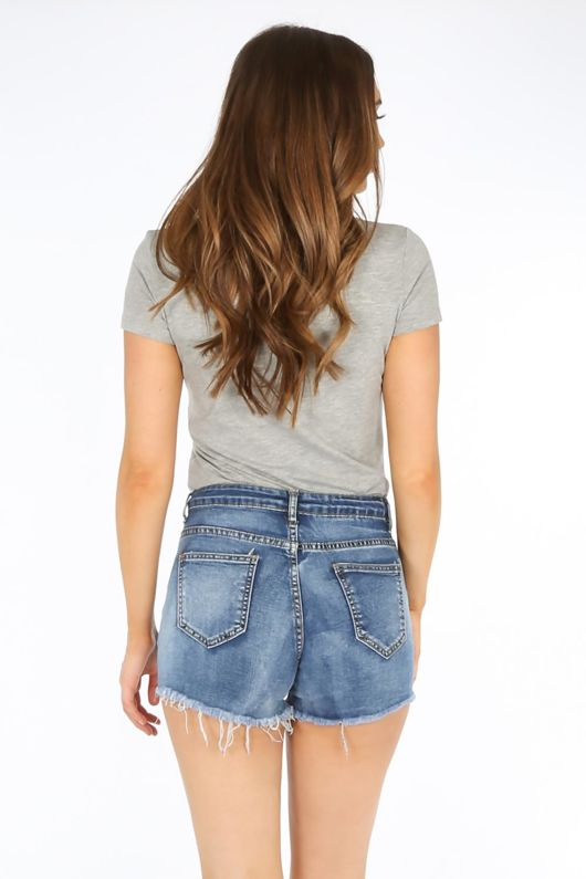 Mid Wash Distressed Denim Shorts