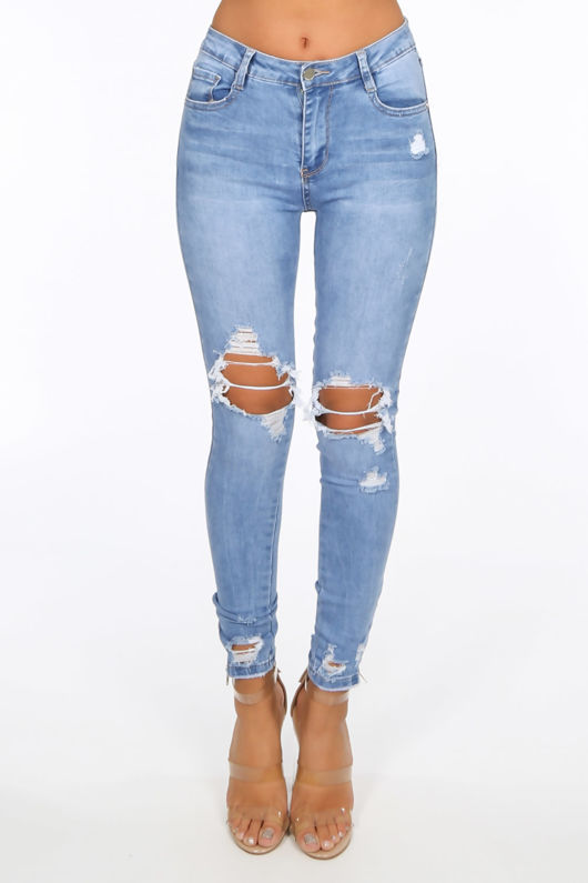Mid Wash Ripped Skinny Jeans