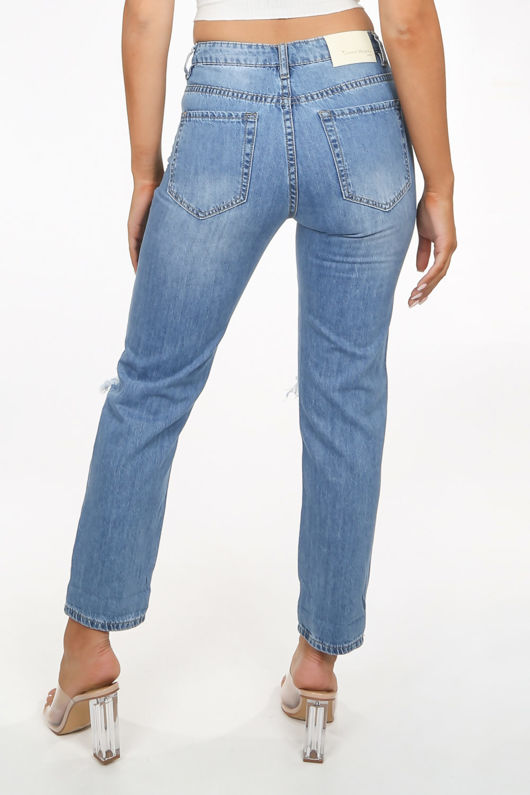 Mid Wash Denim Distressed Mom Jeans