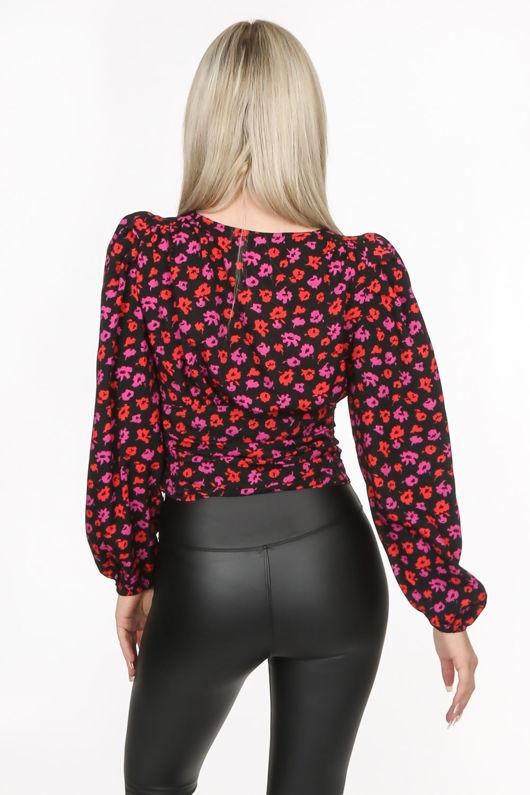 Black Plunge Floral Print Top
