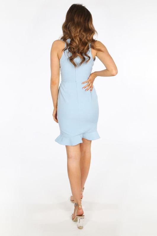 Blue Ruffle Plunge Front Mini Dress