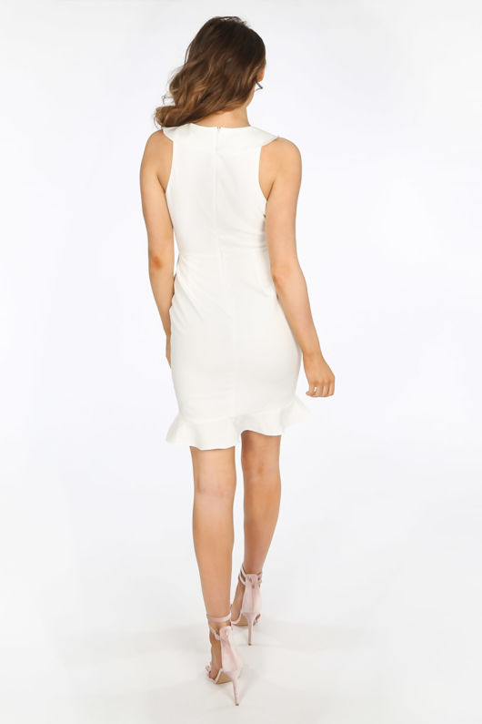 White Ruffle Plunge Front Mini Dress
