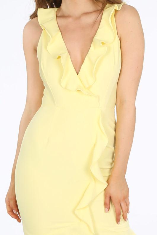 Yellow Ruffle Plunge Front Mini Dress