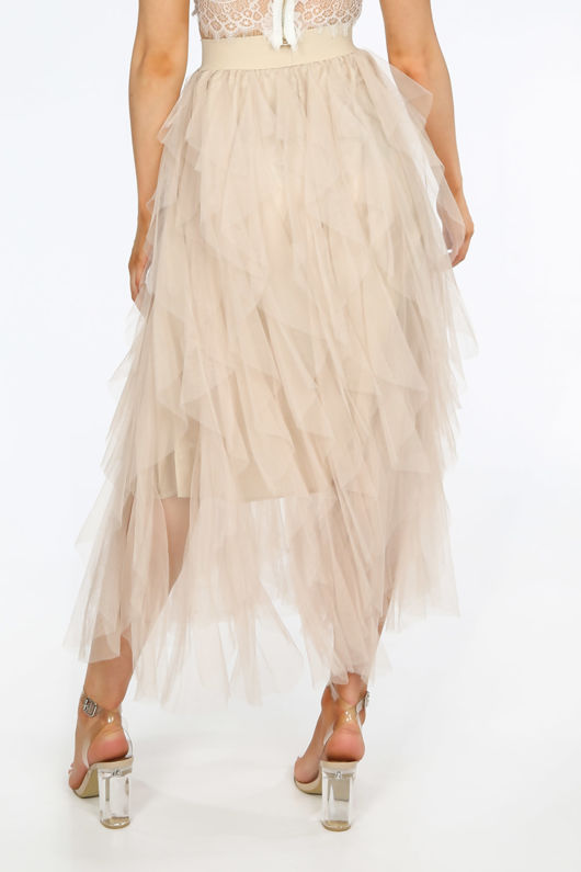 Ruffle Draped Tulle Skirt In Beige
