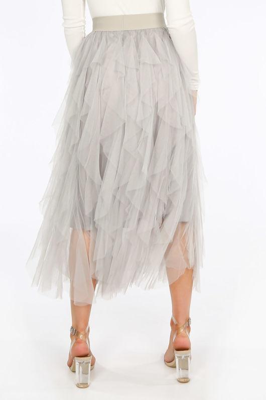 Ruffle Draped Tulle Skirt In Grey