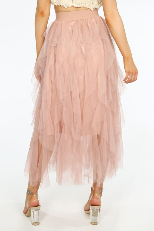 Ruffle Draped Tulle Skirt In Pink