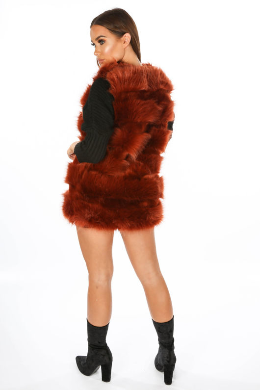 Rust Super Soft Faux Fur Gilet