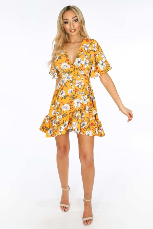 Short Sleeve Mini Wrap Dress in Yellow Floral Print