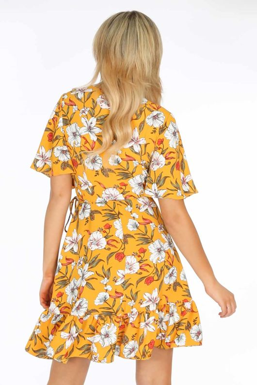 9d76ce55d17485 Short Sleeve Mini Wrap Dress in Yellow Floral Print