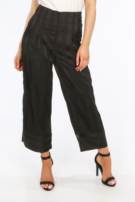 Black Embossed Stripe Satin Cropped Trouser