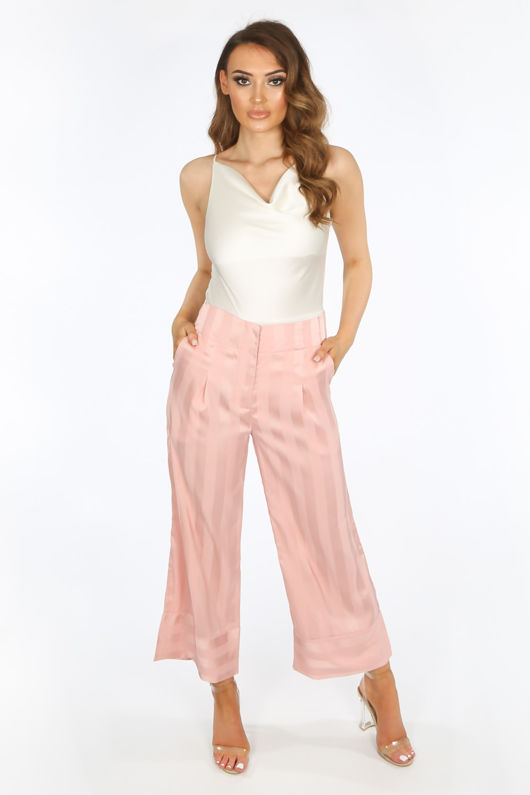Pink Embossed Stripe Satin Cropped Trouser
