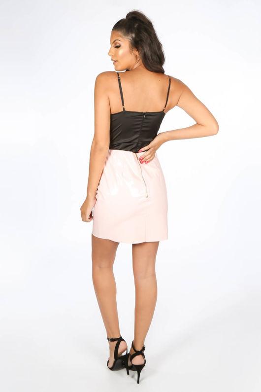 Satin & Lace Bodysuit In Black