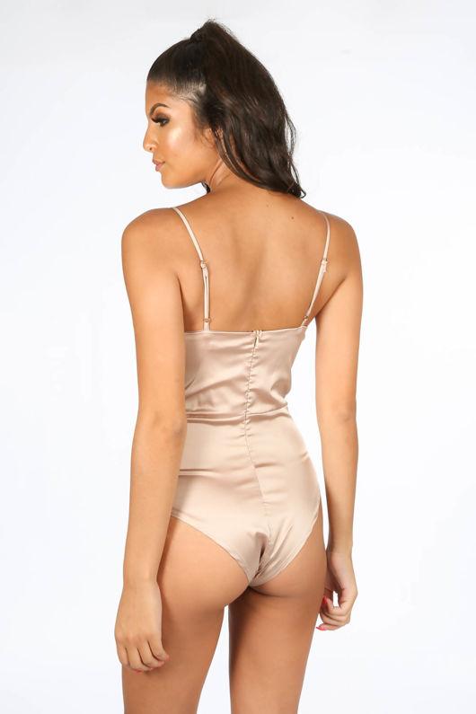 Satin & Lace Bodysuit In Nude
