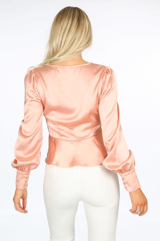 Pink Clasp Front Satin Peplum Blouse