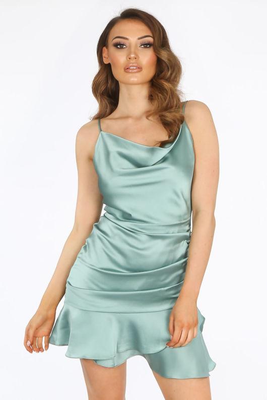 Green Satin Cowl Neck Mini Ruched Dress