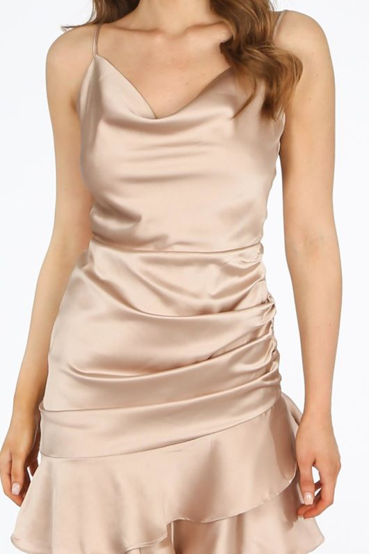 Nude Satin Cowl Neck Mini Ruched Dress