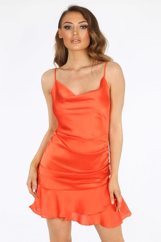 Orange Satin Cowl Neck Mini Ruched Dress