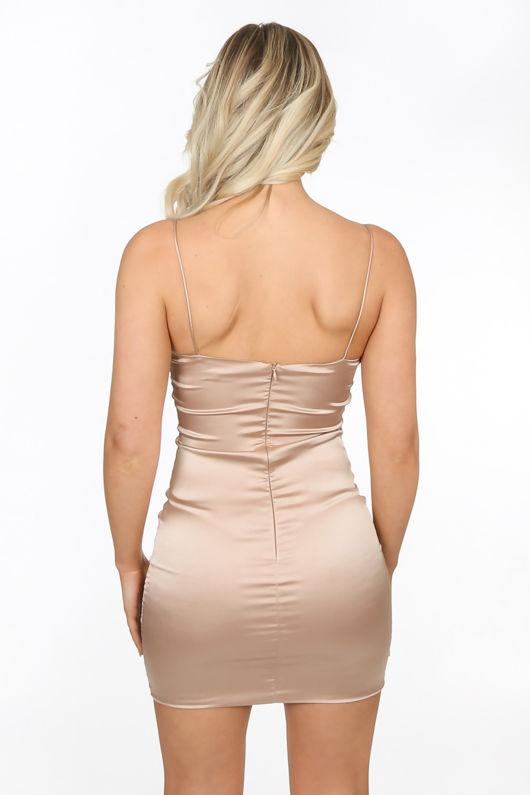 Champagne Satin Mini Dress
